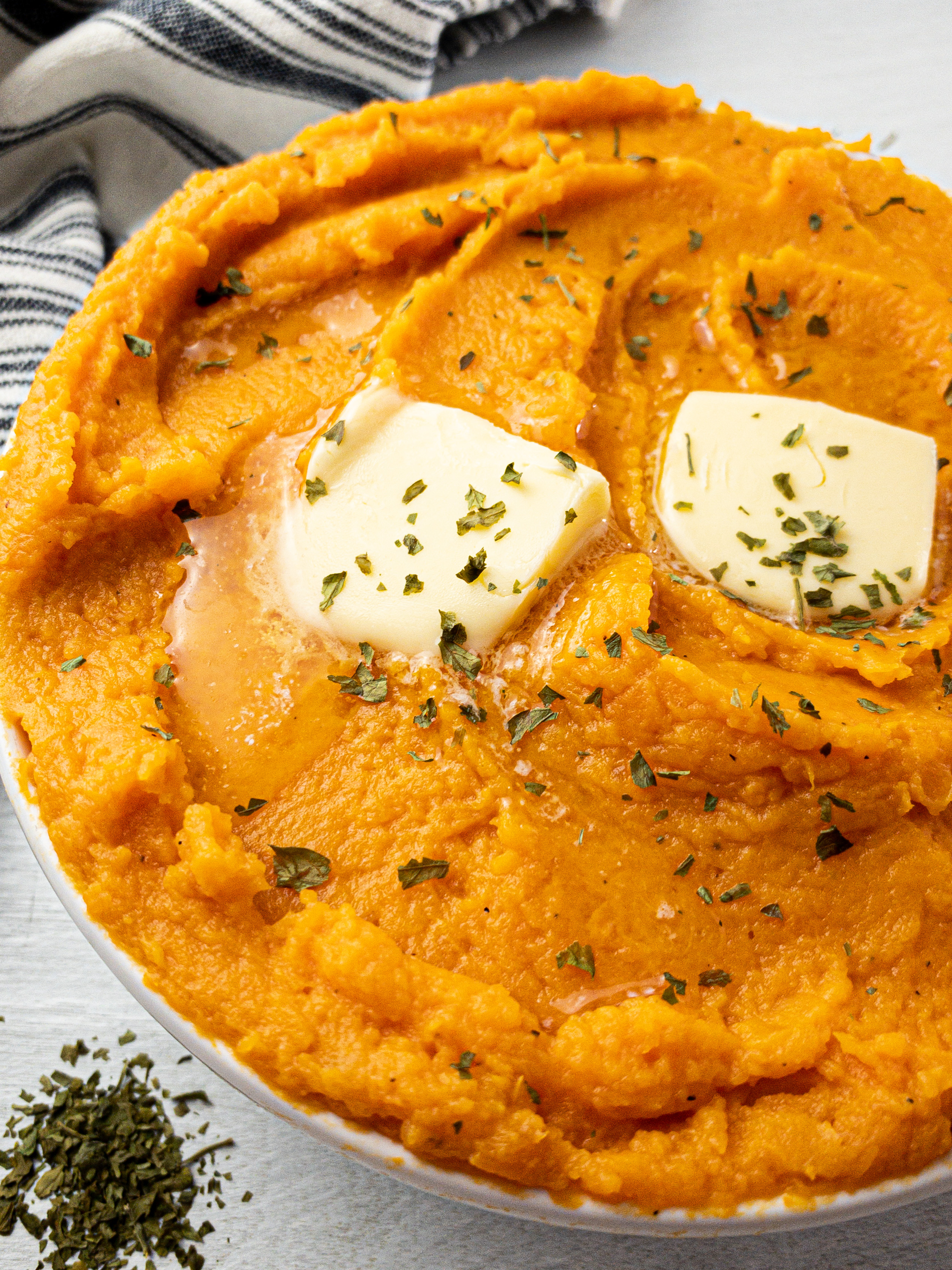 savory mashed sweet potatoes for a healthy side dish or holiday occasion