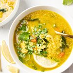 healing chicken bone broth quinoa vegetable soup with ginger and turmeric