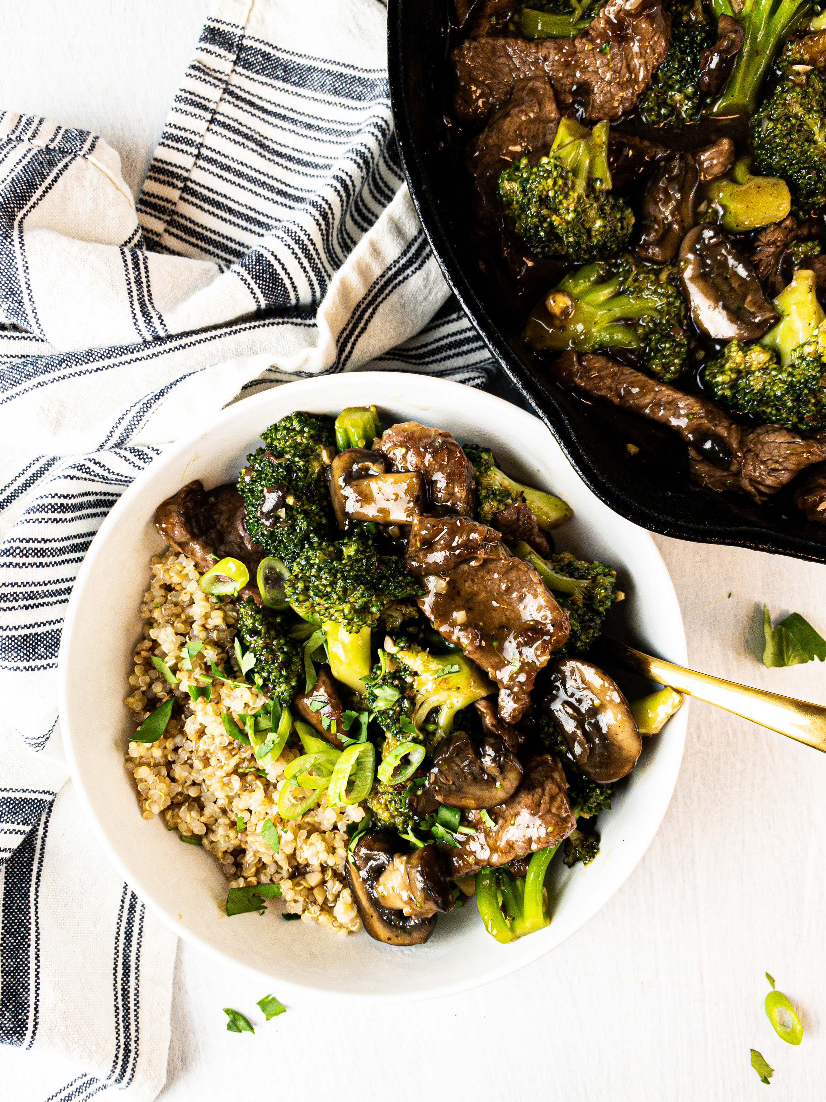 healthy paleo beef broccoli and mushroom stir-fry