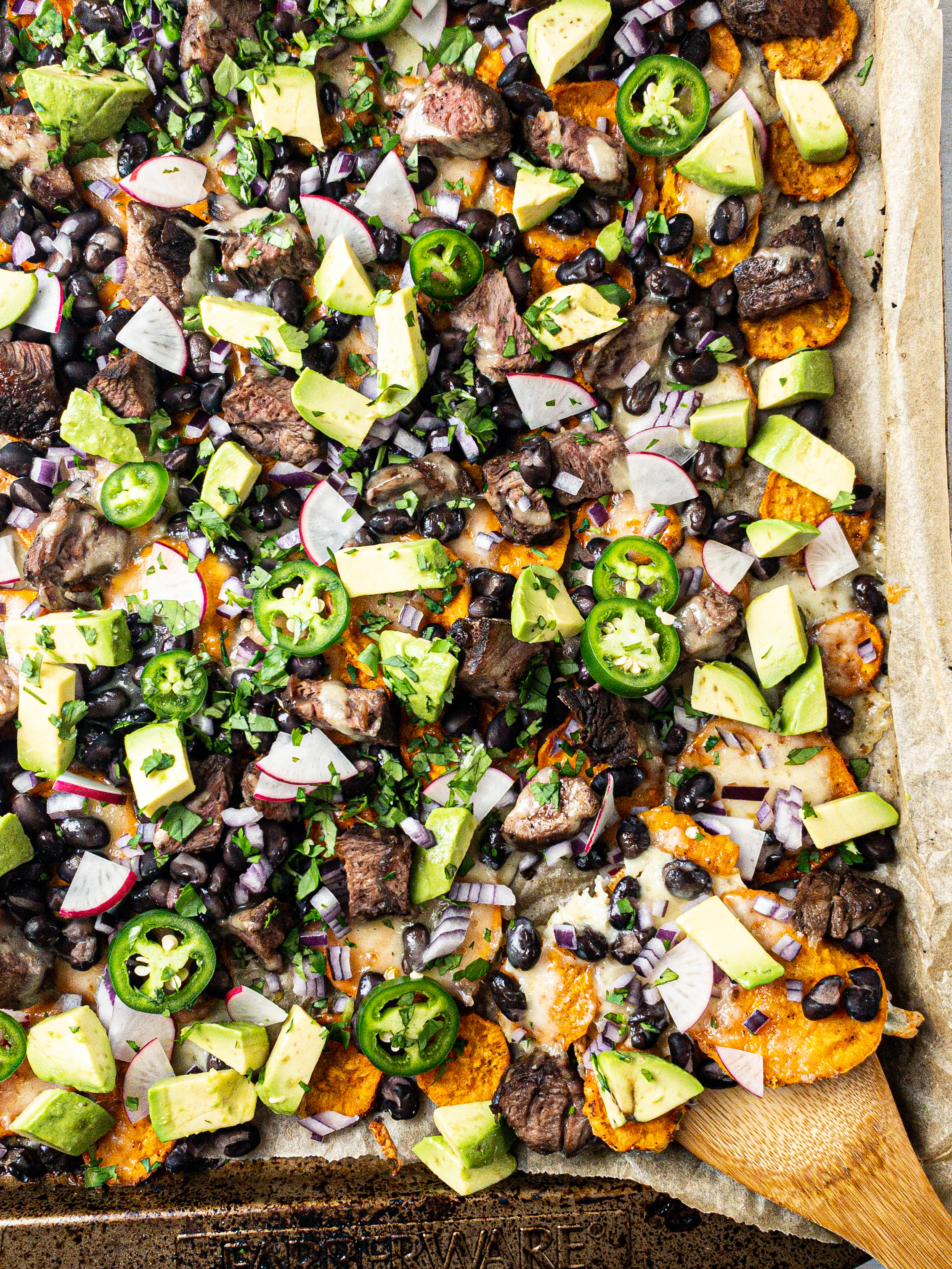Loaded Sweet Potato Steak Sheet Pan Nachos