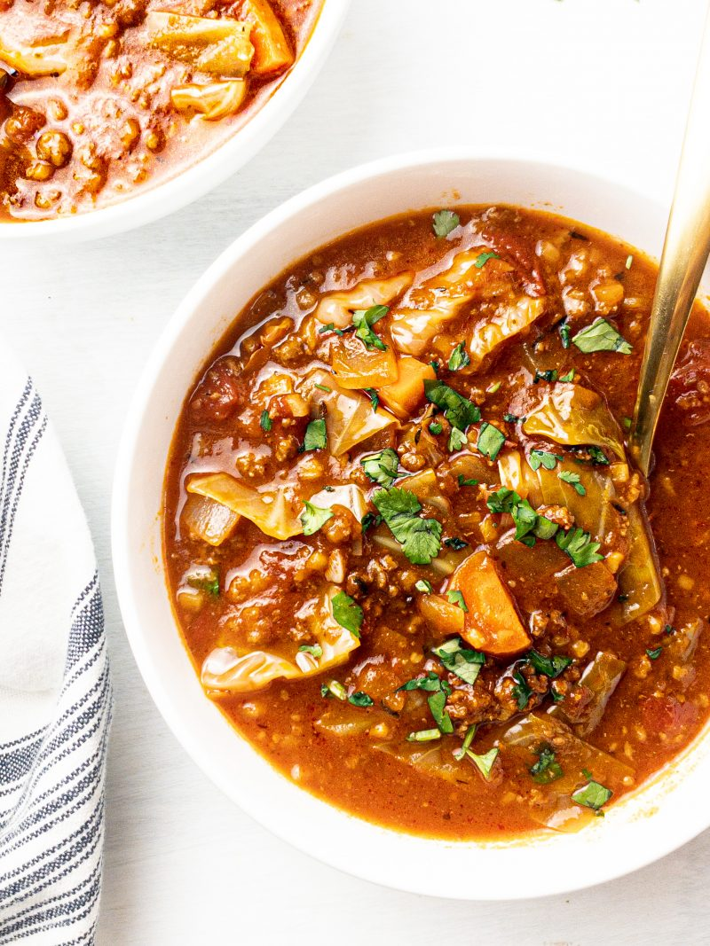 one pot cabbage roll soup with cauliflower rice, paleo