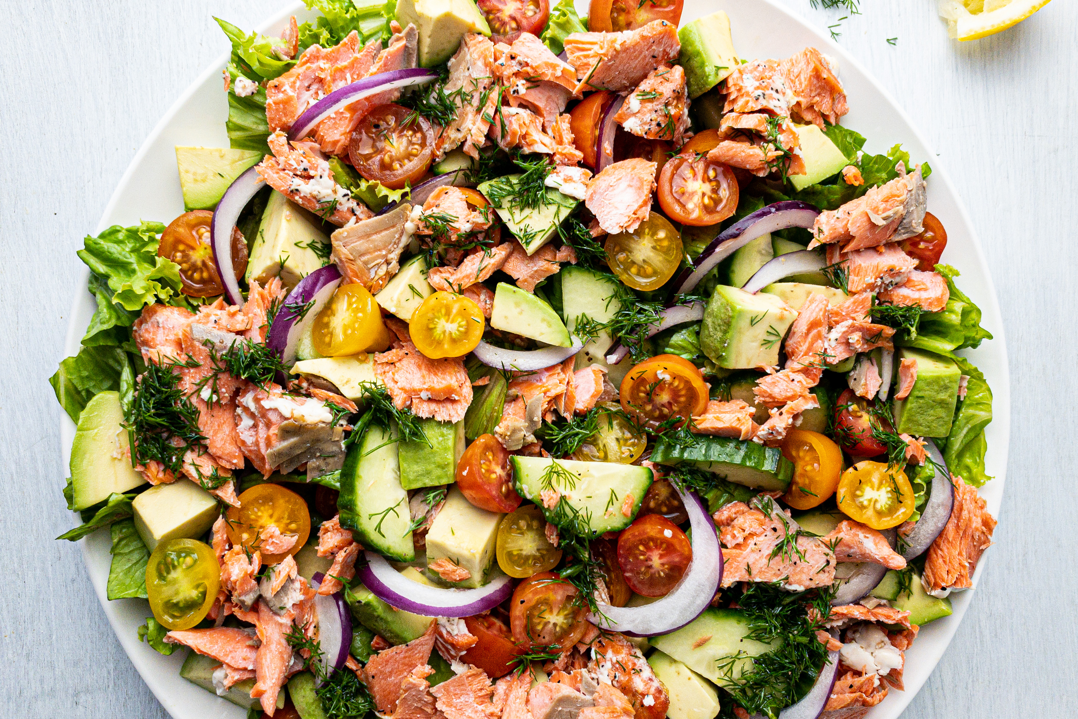 Chopped Salmon Avocado Dill Salad for Healthy Clean Eating