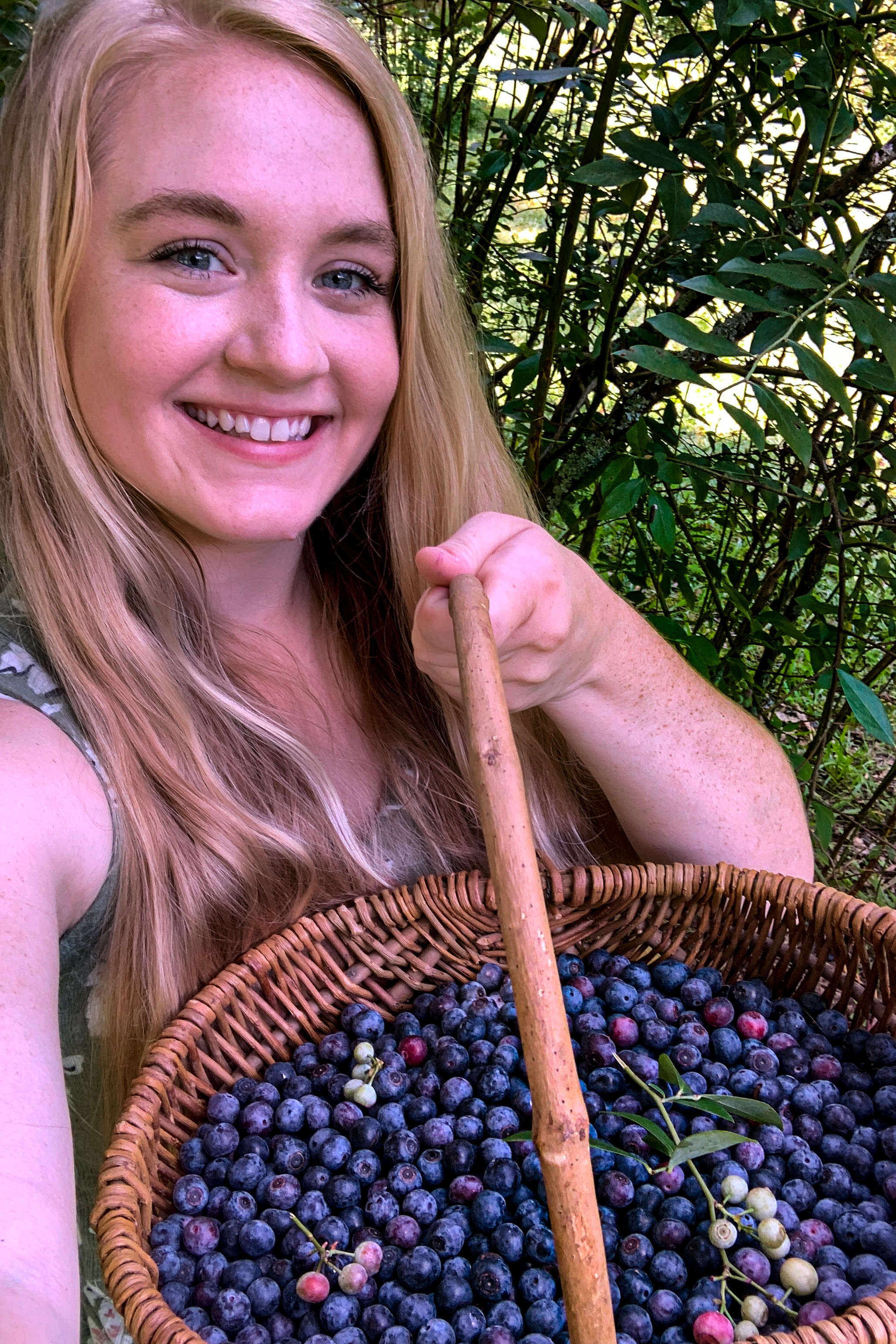 girl with basket of fresh picked blueberries