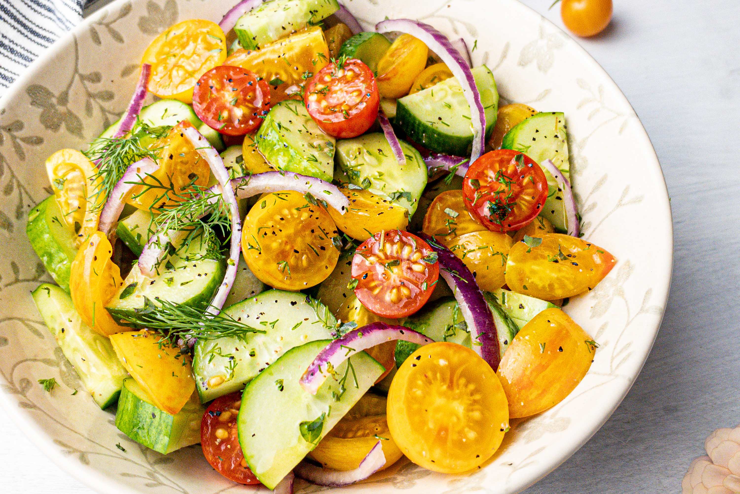 6 Ingredient Summer Cherry Tomato and Cucumber Salad with Fresh Dill