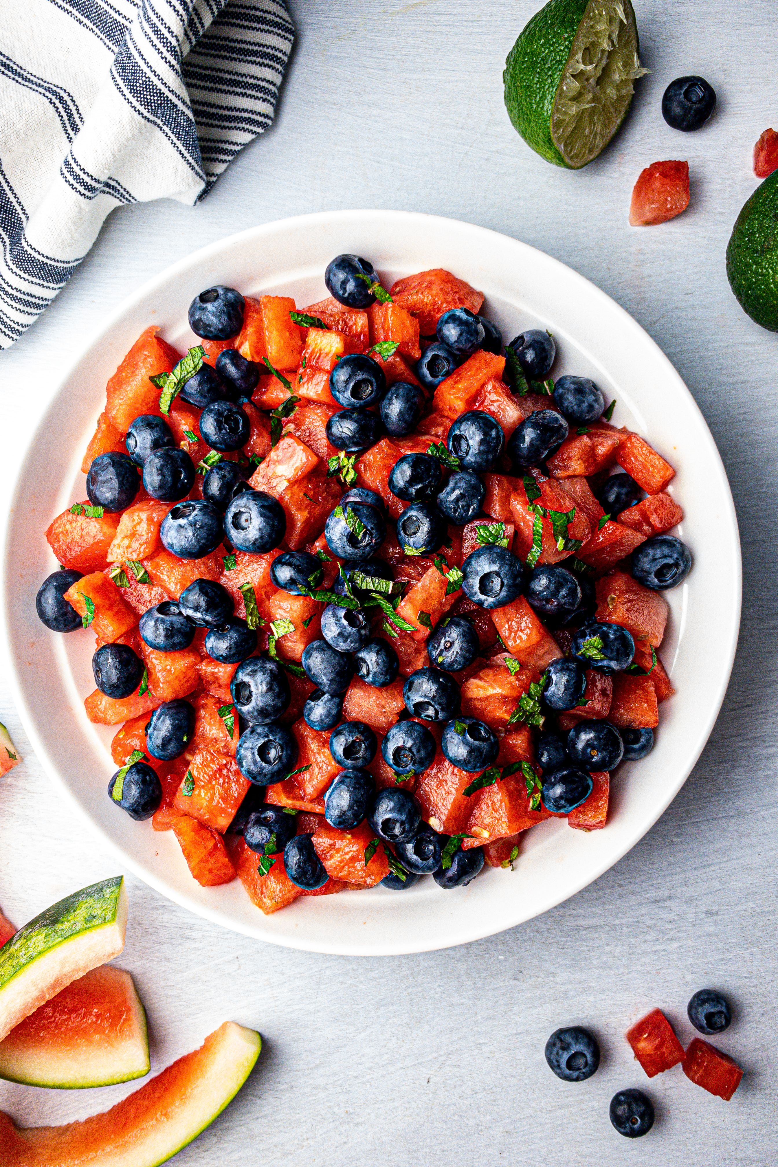 Fresh Blueberry Watermelon Mint & Lime Summer Salad | Clean Eating Healthy Recipes