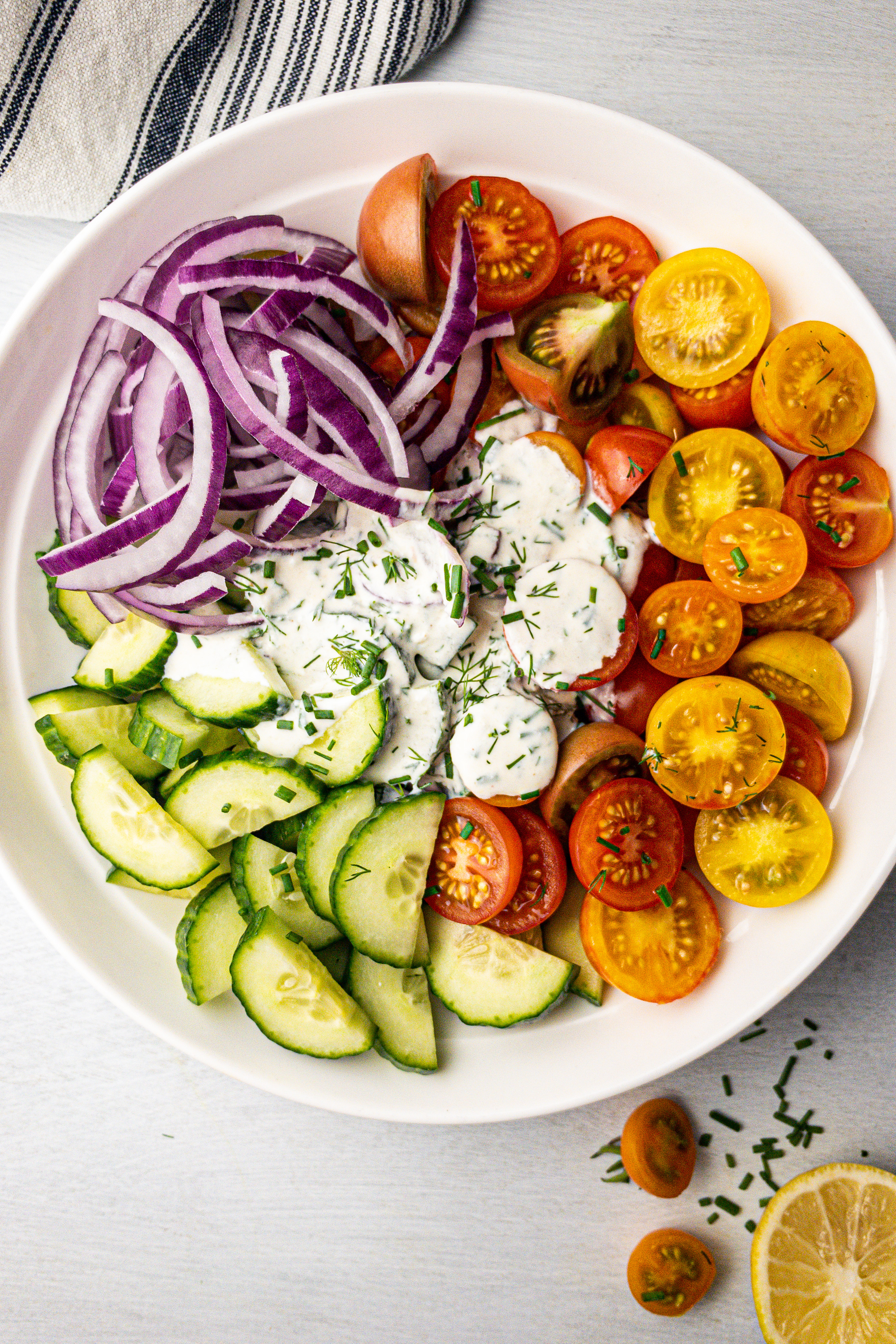 Creamy Herb Tomato and Cucumber Salad for Clean Eating