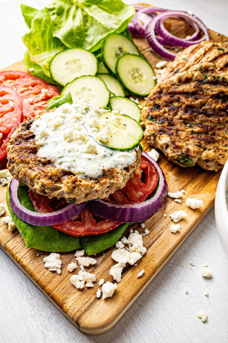 Greek Turkey Burgers with Feta and Tzatziki (Clean Eating, Gluten-Free, Healthy)