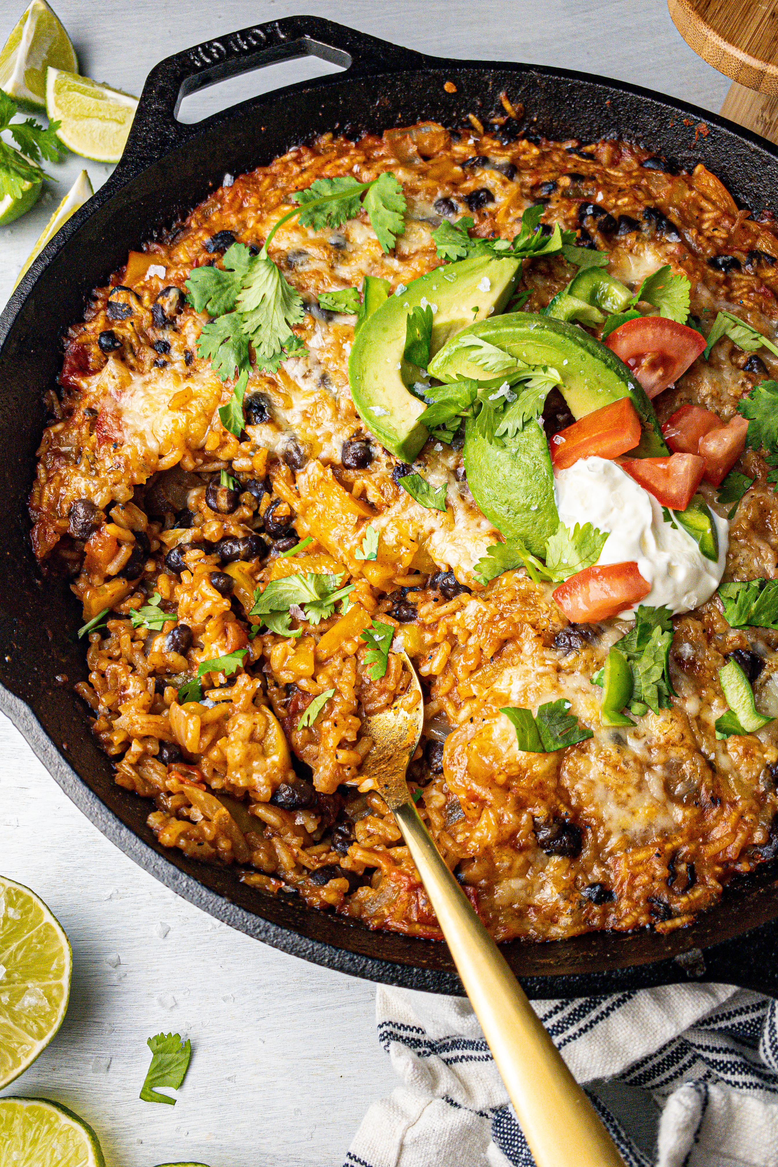 One Skillet Cheesy Southwest Rice Bake (Clean Eating, Gluten-Free)