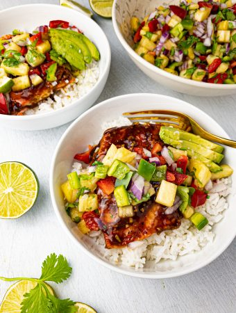 Clean Eating Teriyaki Salmon with Pineapple Avocado Salsa (Quick, Easy, and Healthy)